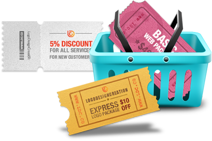 coupons and vouchers in a basket